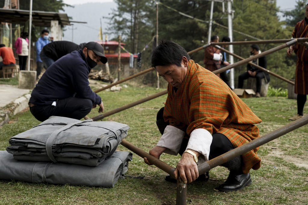 Demonstration of tent in Bumthang